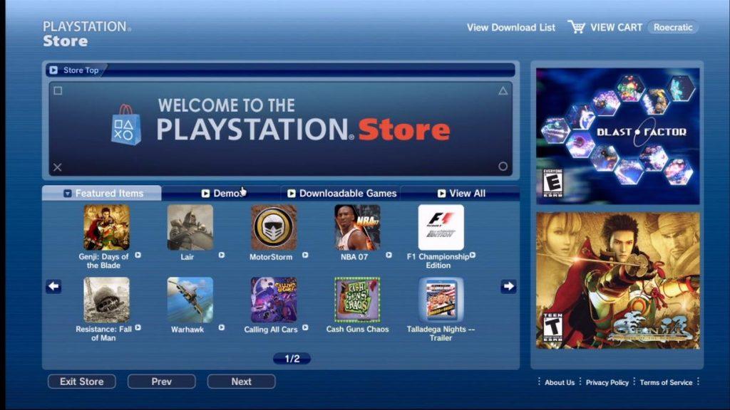 V1 du PlayStation Store, 2006
