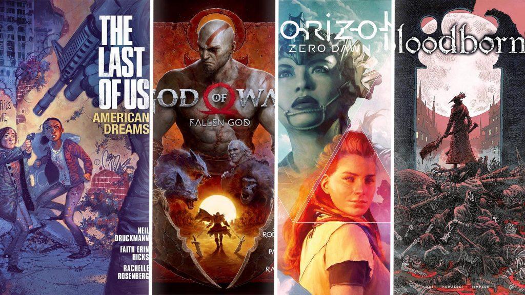 Couverture de comics adaptés des licences exclusives Sony/PlayStation (The Last of Us - American Dreams; God of War - Fallen God; Horizon Zero Dawn - The Sunhawk; Bloodeborn - The Death of Sleep)